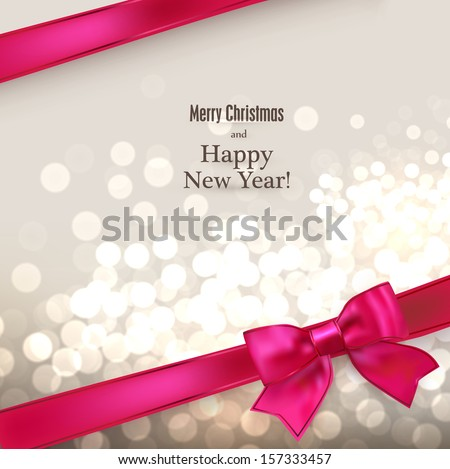 Abstract christmas card with magenta gift bow and ribbon. Vector illustration.   - stock vector