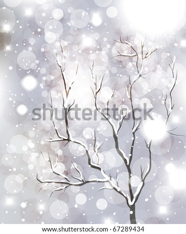 Abstract Christmas card with white snowflakes, tree and lights - stock vector