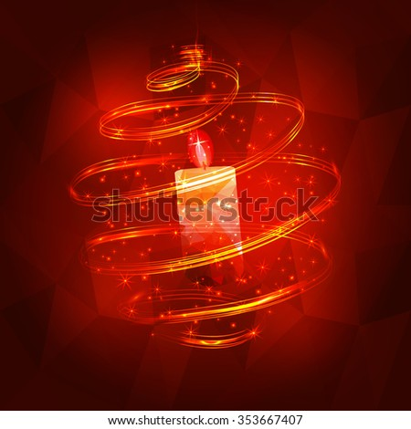 Abstract christmas decoration with candle with red ball with on dark red triangles background vector. background - stock vector