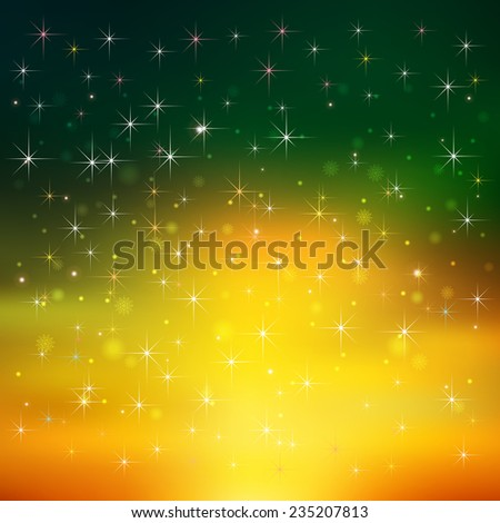 abstract Christmas green yellow background with snowflakes and stars - stock vector