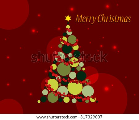 Abstract Christmas greeting card with abstract christmas tree on red background - stock vector