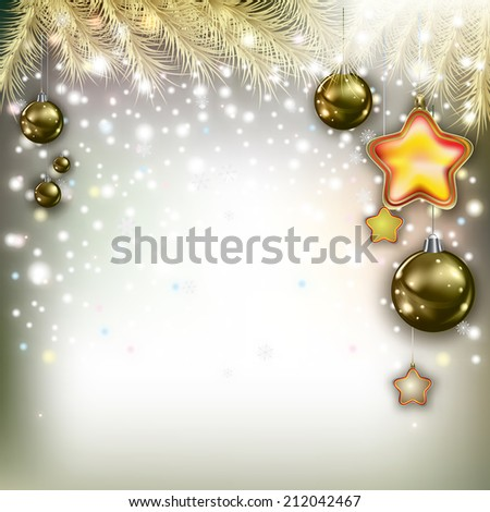 Abstract Christmas greeting with pine branch and decorations - stock vector