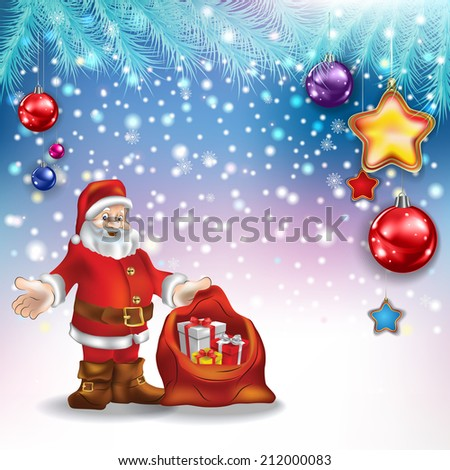 Abstract Christmas greeting with Santa Claus gifts and decorations - stock vector
