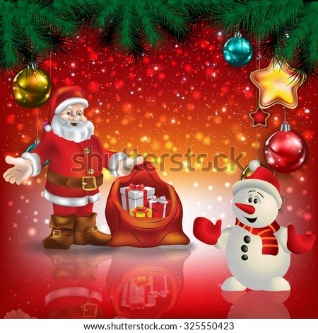 Abstract Christmas red greeting with Santa Claus and snowman - stock vector