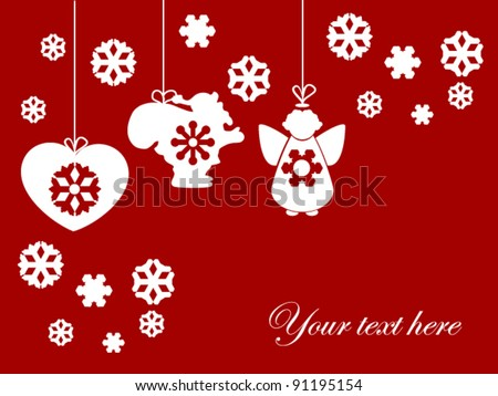 Abstract Christmas theme background with Santa, angel, heart symbol - stock vector