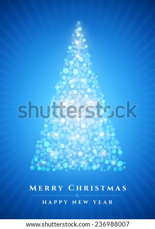 Abstract Christmas tree blue background - stock vector