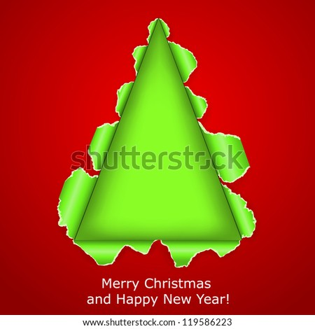 Abstract Christmas tree made �¢??�¢??of torn paper on red background. Vector eps10 illustration - stock vector