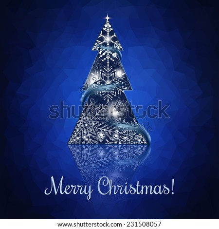 Abstract Christmas tree. triangular background - stock vector