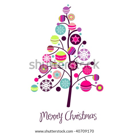 Abstract christmas tree with cute and colorful design elements - stock vector