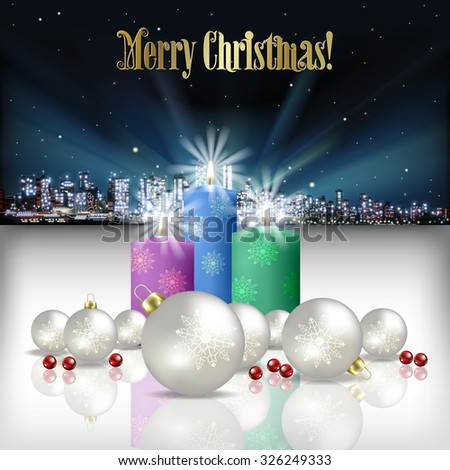 Abstract Christmas vector illustration with silhouette of city and candles - stock vector