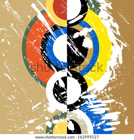 abstract circle background, retro/vintage style with paint strokes and splashes, grungy - stock vector