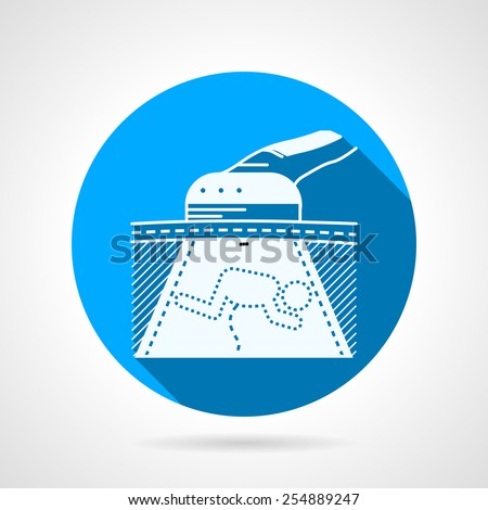 Abstract circle blue flat vector icon with white silhouette ultrasound device showing fetus. Long shadow design. - stock vector