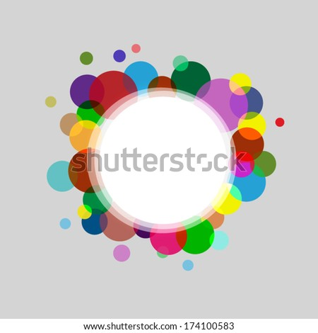 Abstract  circle frame with colored circles and small white stars for different uses  - stock vector