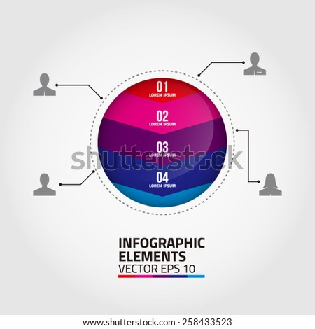 Abstract circle infographic template design. EPS 10 vector, grouped for easy editing.  - stock vector