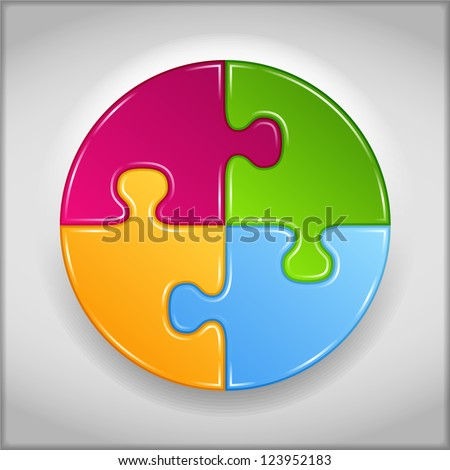 Abstract circle made of puzzle pieces, vector eps10 illustration - stock vector