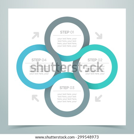 Abstract 4 Circle Ribbon Infographic 3   - stock vector