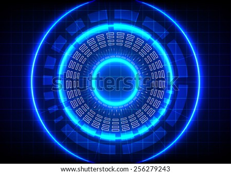 Abstract  circle technology on blue background - stock vector