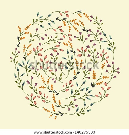 Abstract circle with flowers - stock vector