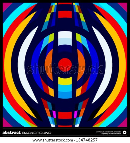 Abstract circles background vector. Modern geometric background design. Techno poster, card, flyer or cover template. Colorful background made by lines and circular shapes. Retro background. - stock vector