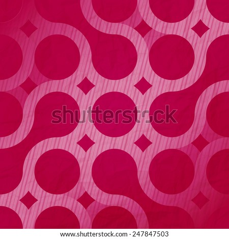 abstract circles ornament over red paper texture. contemporary, geometric background - stock vector