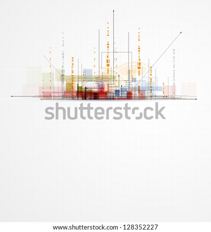 abstract circuit city computer high technology business background - stock vector