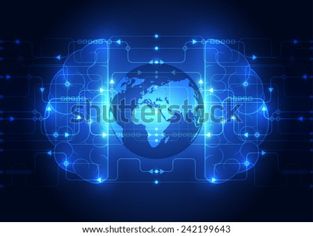 Abstract circuit digital brain, global technology concept vector - stock vector