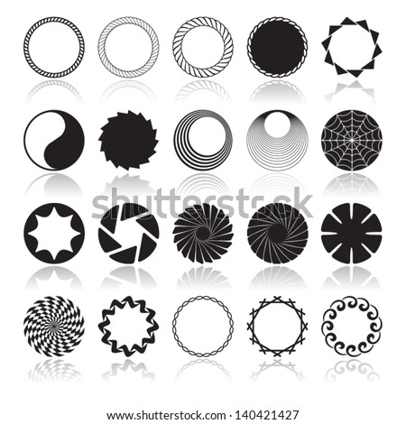 Abstract Circular Design Elements, Vector illustration patterns for logo design and more. - stock vector