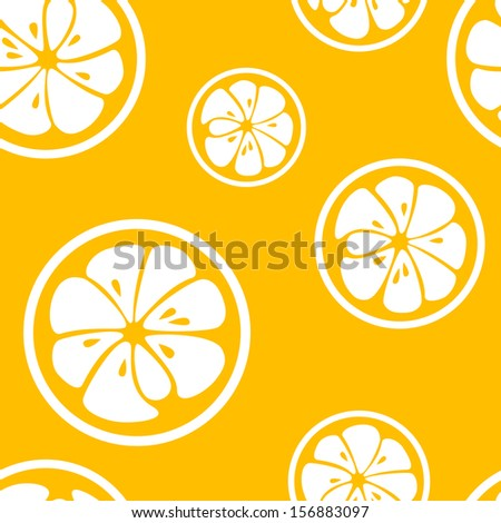 Abstract citrus fruit seamless pattern. Vector illustration for fresh sweet design. Can be used for wallpaper, cover fill, web page background, surface texture. Yellow and white color. - stock vector