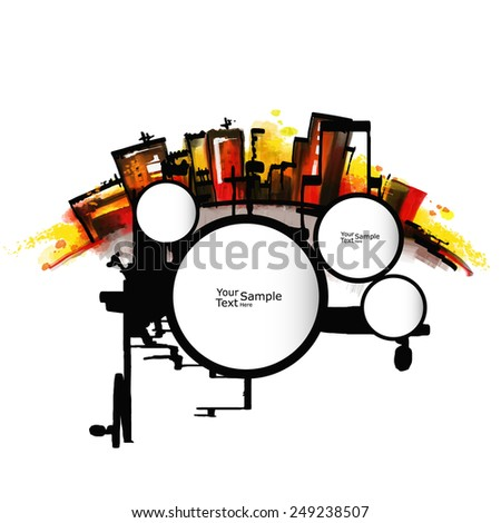 Abstract city and speech bubbles.  - stock vector