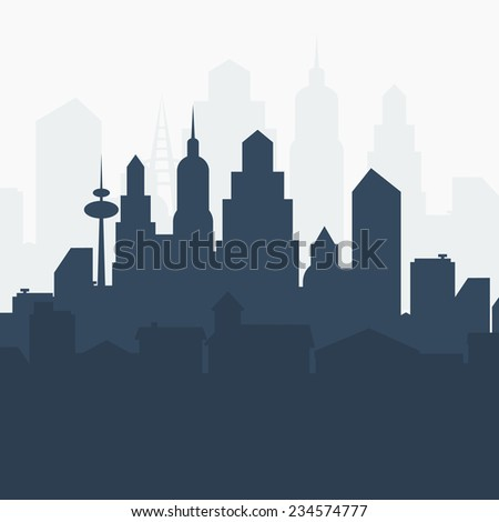 Abstract city landscape. Vector illustration.  - stock vector