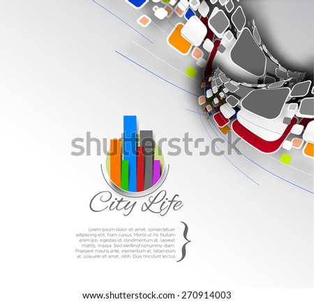 Abstract city life and vector mosaic illustration. - stock vector