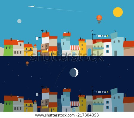 Abstract city map illustration set. Ftat design - stock vector