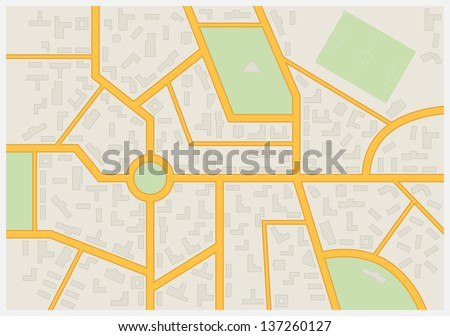 Abstract city map. Vector illustration. - stock vector