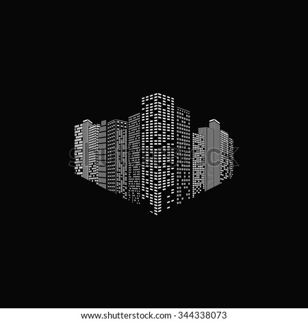 Abstract city on the black background - stock vector