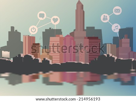 Abstract City Skyline with Social Media, Network and Web Design Elements - Vector Illustration - stock vector