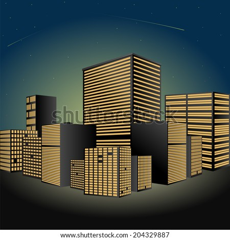 Abstract Cityscape at night. Made in vector - stock vector