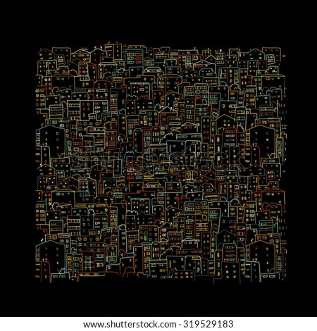 Abstract cityscape background on black, sketch for your design. Vector illustration - stock vector
