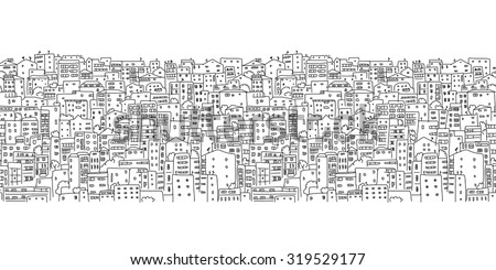 Abstract cityscape background, seamless pattern for your design. Vector illustration - stock vector
