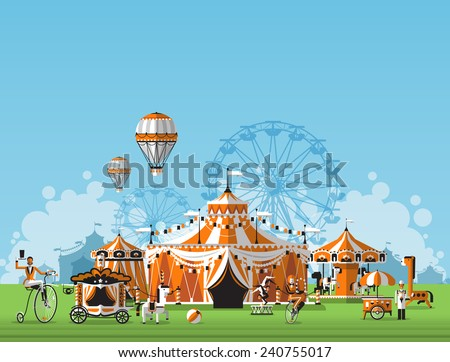 Abstract Classical Circus tent - stock vector