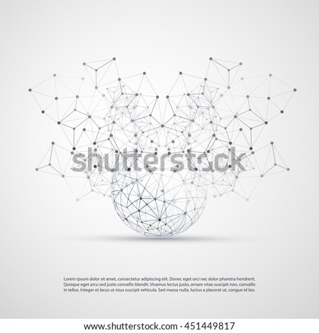 Abstract Cloud Computing and Network Connections Concept Design with Transparent Geometric Mesh, Wireframe Sphere - Illustration in Editable Vector Format - stock vector