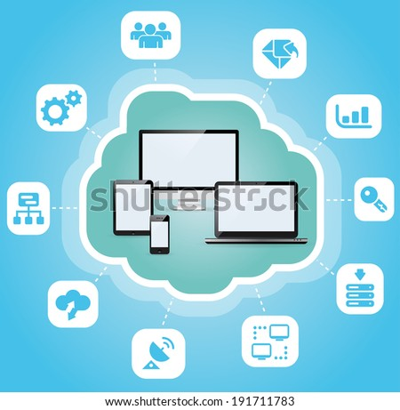 Abstract cloud computing concept background.  - stock vector