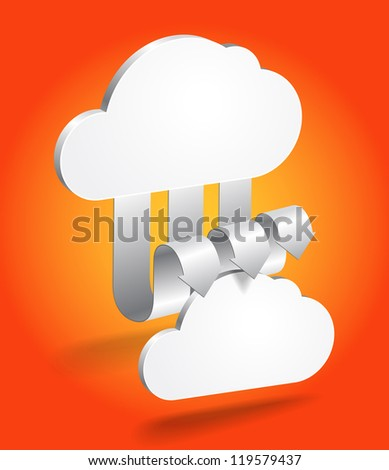 Abstract cloud scheme in perspective. Template for a content - stock vector