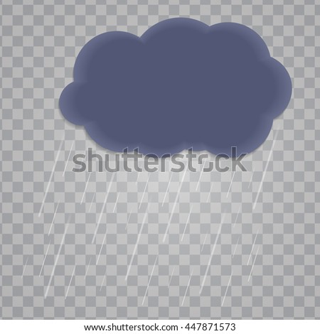 Abstract Cloud with Rain Drops on Transparent Background. Vector Illustration. EPS10 - stock vector