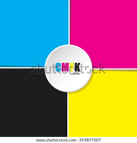 Abstract cmyk background with white stripes and 3d button in middle - stock vector