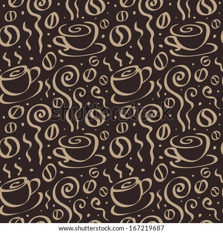 Abstract Coffee background. Seamless Vector Illustration. - stock vector