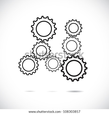 Abstract cogwheels or gears in black and white showing controlled rotating motion implying harmonious & balanced working system. The graphic illustrates teamwork, balance, synchronization, etc - stock vector