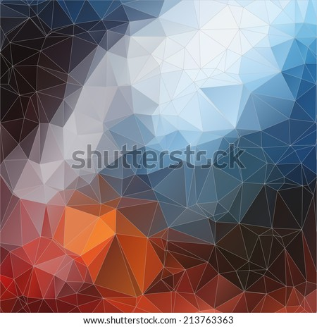 Abstract color 2D  polygonal background. Triangles background for your  design - stock vector