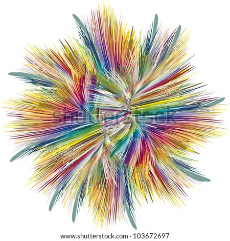 Abstract color explosion as symbol for creativity and spontaneity - stock vector