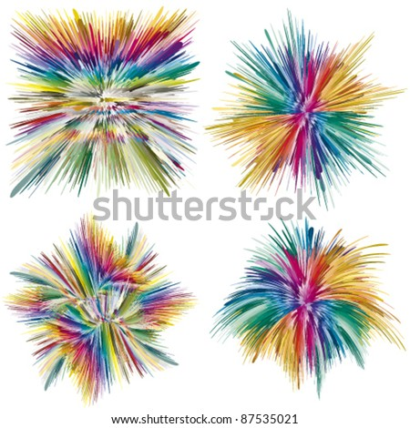 Abstract color explosion as symbol for creativity and spontaneity, vector art - stock vector