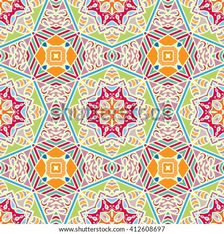 Abstract color fantasy graphic background, seamless floral geometric pattern. Hand drawn fabric texture. Tribal ethnic arabic, indian, ottoman ornament, doodle vector illustration.  - stock vector